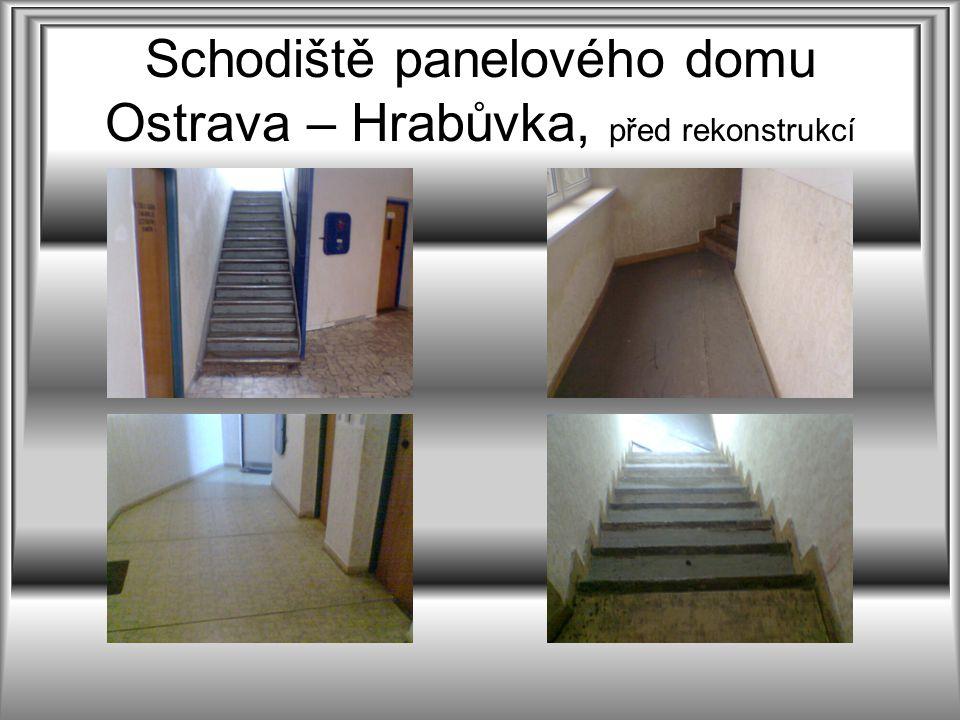 Schodiště panelového domu Ostrava – Hrabůvka, před rekonstrukcí