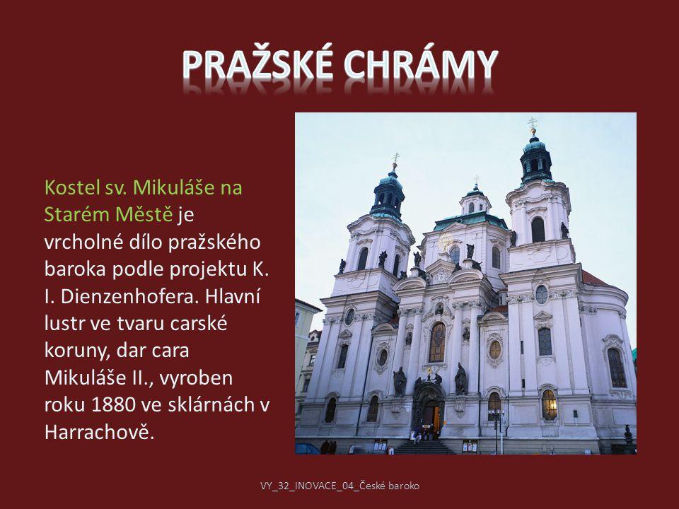 Kostel sv. Mikuláše na Starém Městě je vrcholné dílo pražského baroka podle projektu K. I. Dienzenhofera. Hlavní lustr ve tvaru carské koruny, dar car