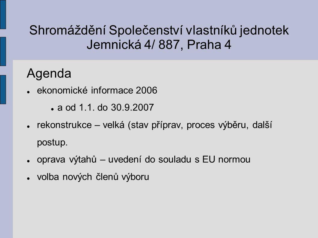 Shromáždění Společenství vlastníků jednotek Jemnická 4/ 887, Praha 4 Agenda ekonomické informace 2006 a od 1.1.