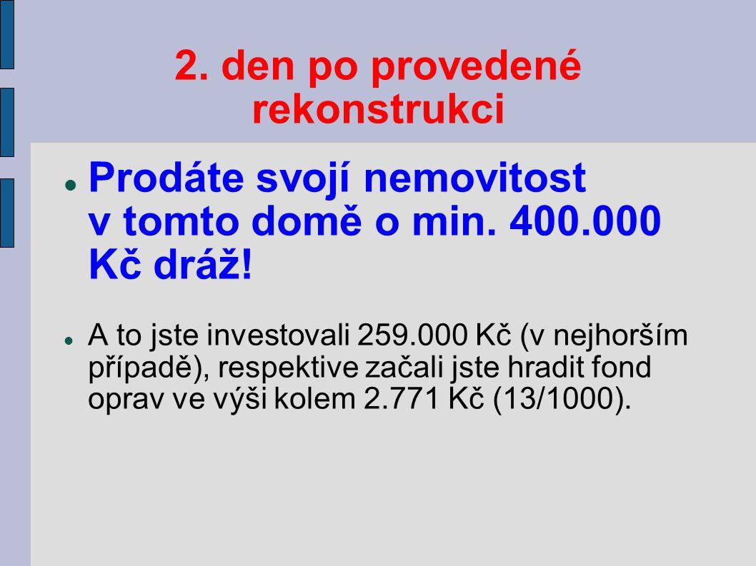 2. den po provedené rekonstrukci Prodáte svojí nemovitost v tomto domě o min.