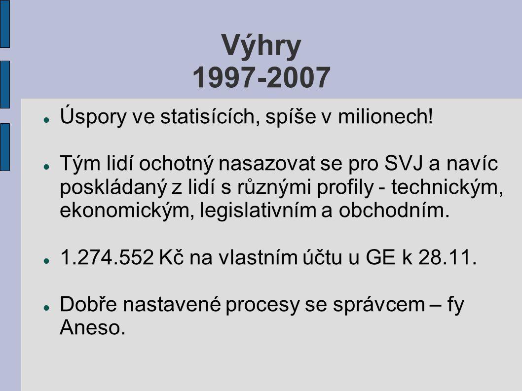 Výhry 1997-2007 Úspory ve statisících, spíše v milionech.
