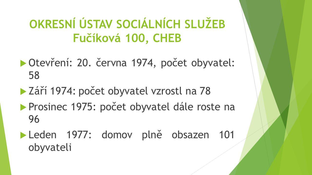 OKRESNÍ ÚSTAV SOCIÁLNÍCH SLUŽEB Fučíková 100, CHEB  Otevření: 20. června 1974, počet obyvatel: 58  Září 1974: počet obyvatel vzrostl na 78  Prosine