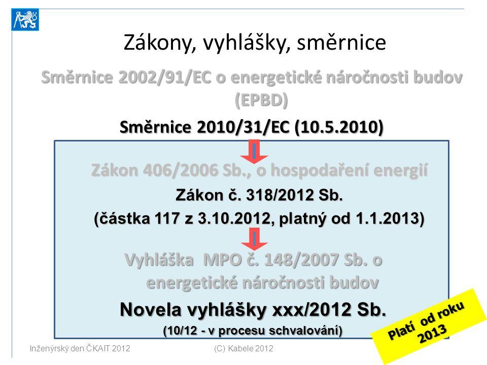 Zákony, vyhlášky, směrnice Směrnice 2002/91/EC o energetické náročnosti budov (EPBD) Směrnice 2010/31/EC (10.5.2010) Zákon 406/2006 Sb., o hospodaření