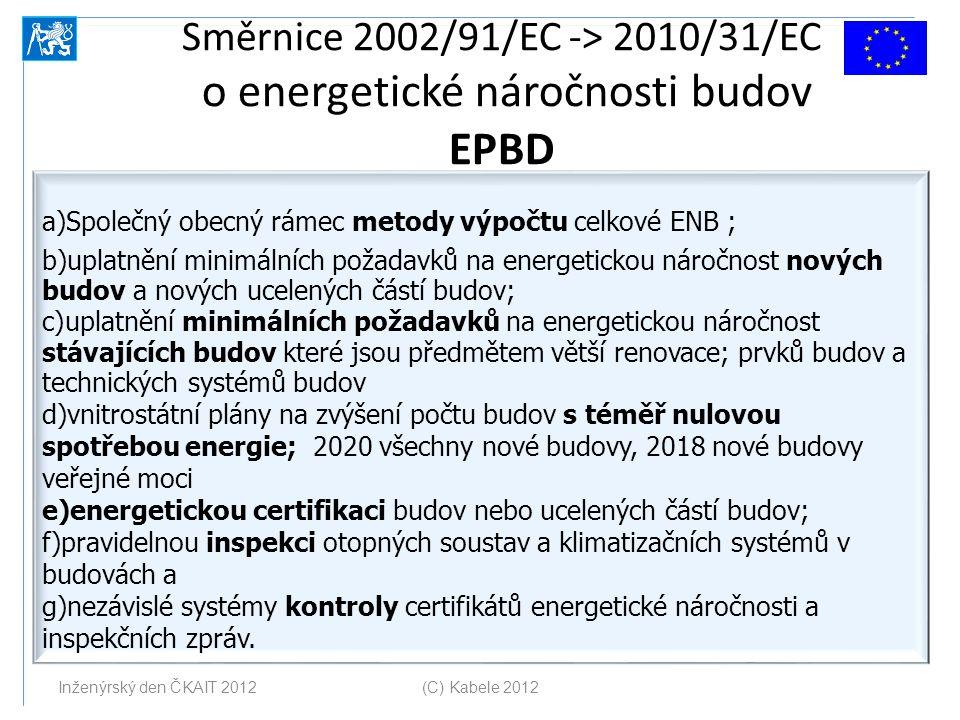 Směrnice 2002/91/EC -> 2010/31/EC o energetické náročnosti budov EPBD a)Společný obecný rámec metody výpočtu celkové ENB ; b)uplatnění minimálních pož