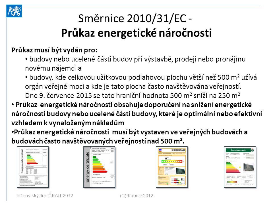 Směrnice 2010/31/EC - Průkaz energetické náročnosti Průkaz musí být vydán pro: budovy nebo ucelené části budov při výstavbě, prodeji nebo pronájmu nov