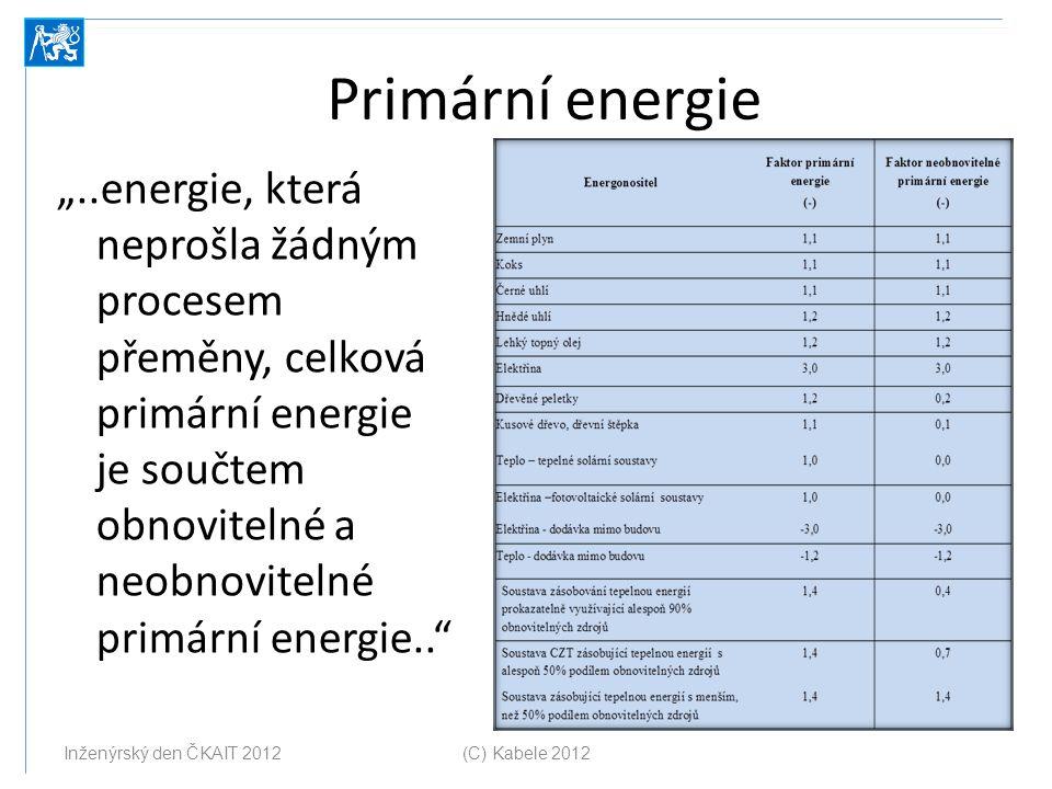 """Primární energie """"..energie, která neprošla žádným procesem přeměny, celková primární energie je součtem obnovitelné a neobnovitelné primární energie."""