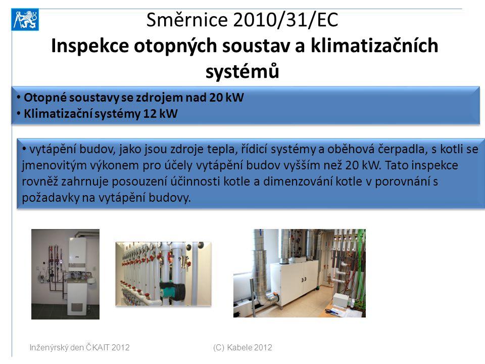 Směrnice 2010/31/EC Inspekce otopných soustav a klimatizačních systémů Otopné soustavy se zdrojem nad 20 kW Klimatizační systémy 12 kW Otopné soustavy