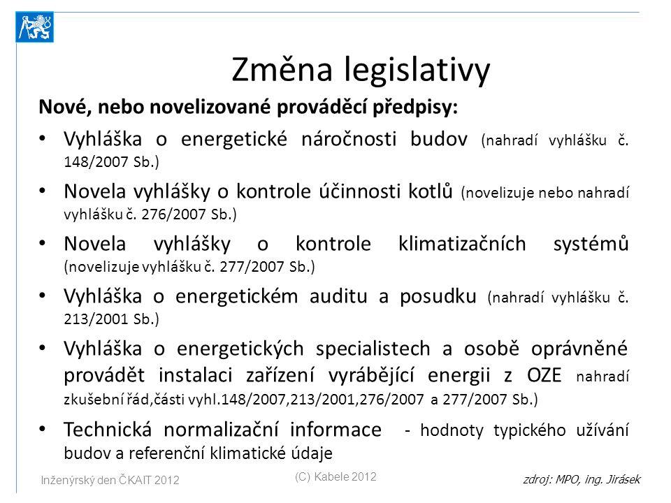Změna legislativy Nové, nebo novelizované prováděcí předpisy: Vyhláška o energetické náročnosti budov (nahradí vyhlášku č. 148/2007 Sb.) Novela vyhláš