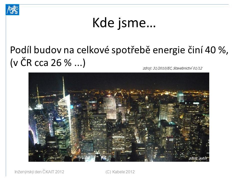 Kde jsme… Podíl budov na celkové spotřebě energie činí 40 %, (v ČR cca 26 %...) (C) Kabele 2012 Inženýrský den ČKAIT 2012 zdroj: 31/2010/EC, Stavebnic