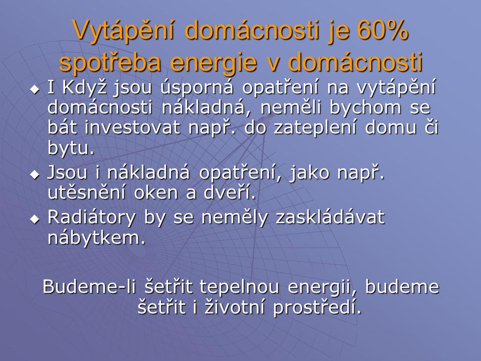 Vytápění domácnosti je 60% spotřeba energie v domácnosti  I Když jsou úsporná opatření na vytápění domácnosti nákladná, neměli bychom se bát investovat např.