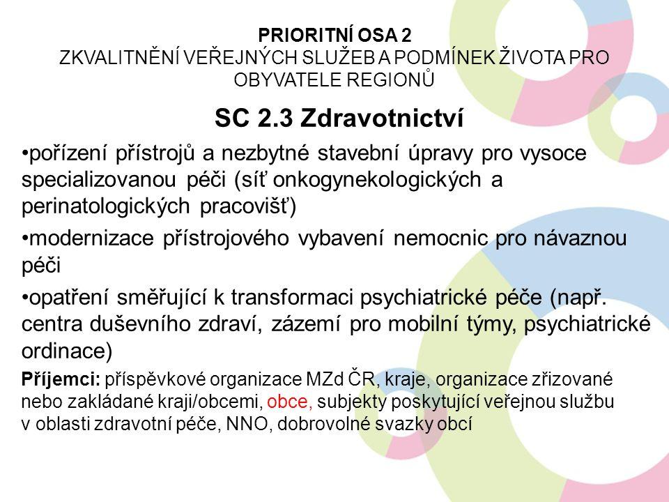 SC 2.3 Zdravotnictví pořízení přístrojů a nezbytné stavební úpravy pro vysoce specializovanou péči (síť onkogynekologických a perinatologických pracov
