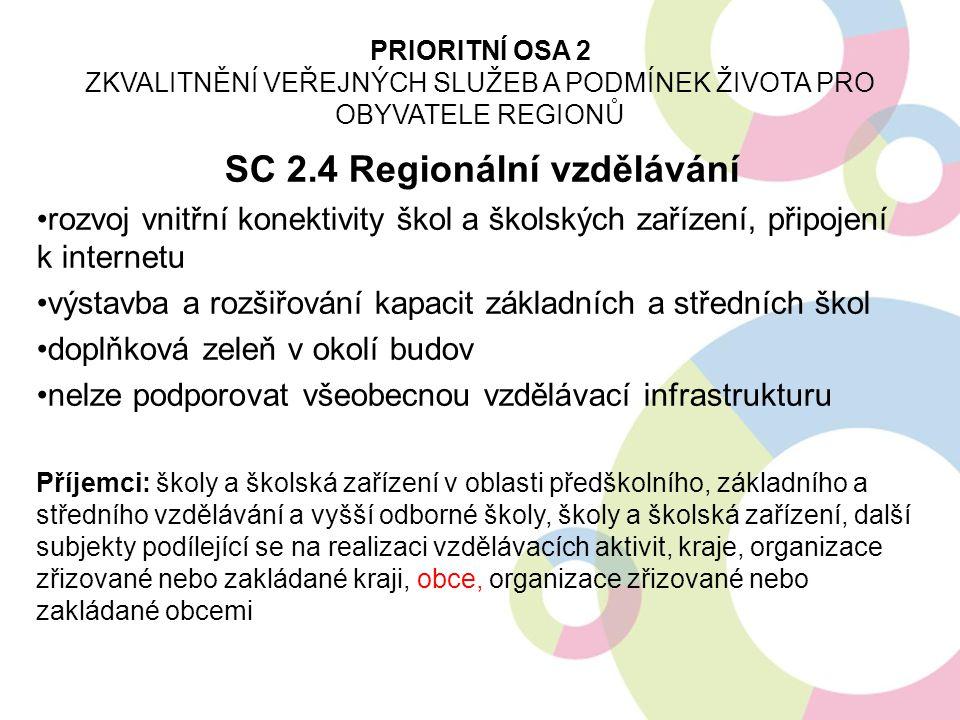 SC 2.4 Regionální vzdělávání rozvoj vnitřní konektivity škol a školských zařízení, připojení k internetu výstavba a rozšiřování kapacit základních a s