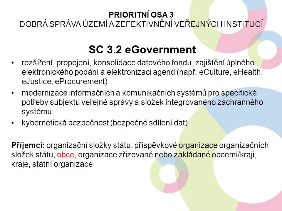 SC 3.2 eGovernment rozšíření, propojení, konsolidace datového fondu, zajištění úplného elektronického podání a elektronizaci agend (např. eCulture, eH