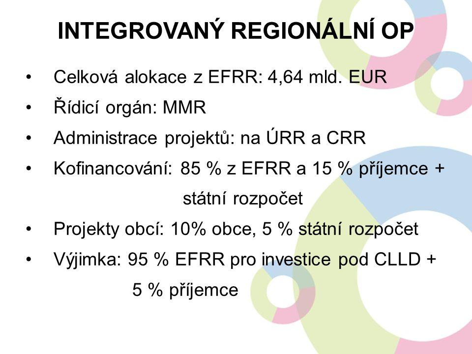Celková alokace z EFRR: 4,64 mld. EUR Řídicí orgán: MMR Administrace projektů: na ÚRR a CRR Kofinancování: 85 % z EFRR a 15 % příjemce + státní rozpoč