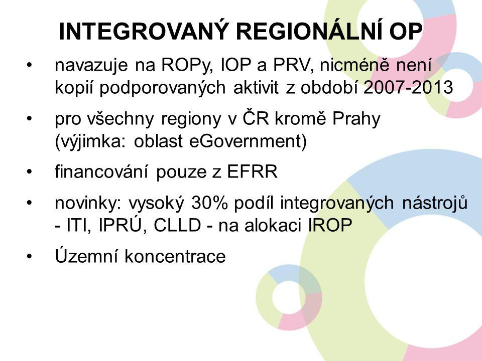 navazuje na ROPy, IOP a PRV, nicméně není kopií podporovaných aktivit z období 2007-2013 pro všechny regiony v ČR kromě Prahy (výjimka: oblast eGovern
