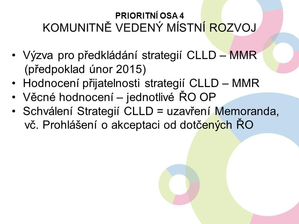 PRIORITNÍ OSA 4 KOMUNITNĚ VEDENÝ MÍSTNÍ ROZVOJ Výzva pro předkládání strategií CLLD – MMR (předpoklad únor 2015) Hodnocení přijatelnosti strategií CLL