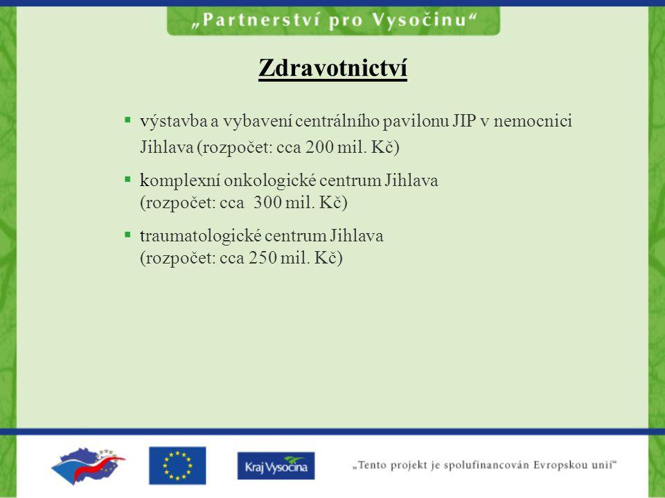 Zdravotnictví  výstavba a vybavení centrálního pavilonu JIP v nemocnici Jihlava (rozpočet: cca 200 mil.