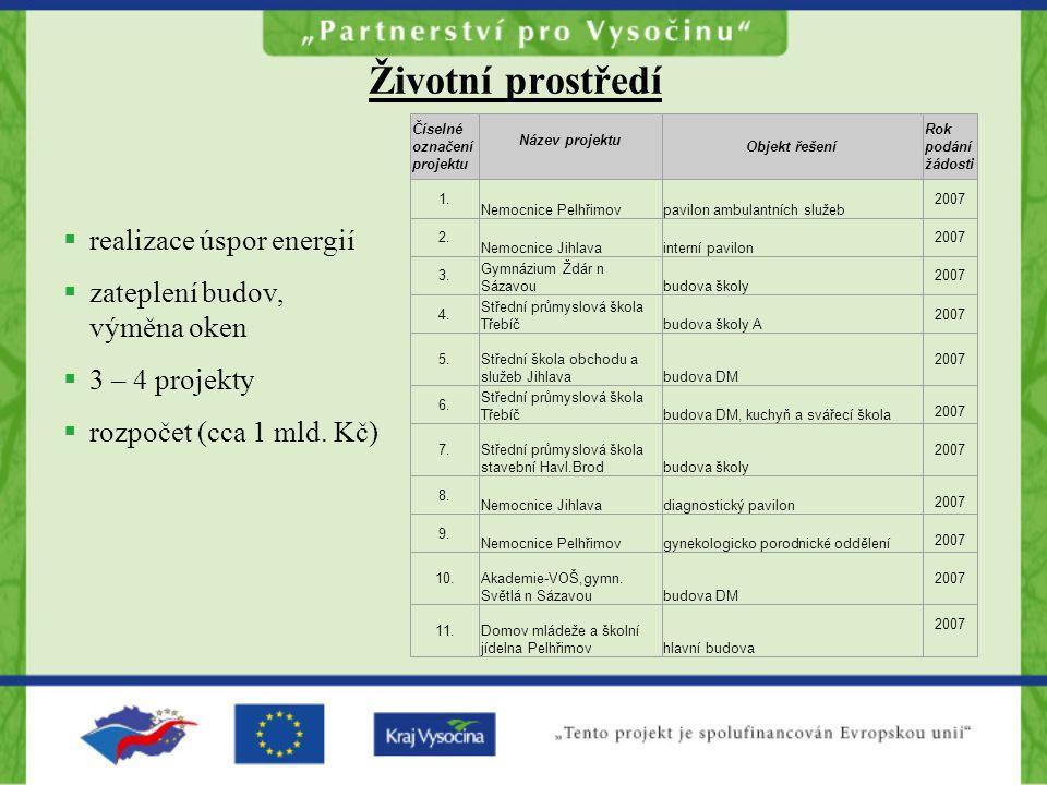 Životní prostředí  realizace úspor energií  zateplení budov, výměna oken  3 – 4 projekty  rozpočet (cca 1 mld.