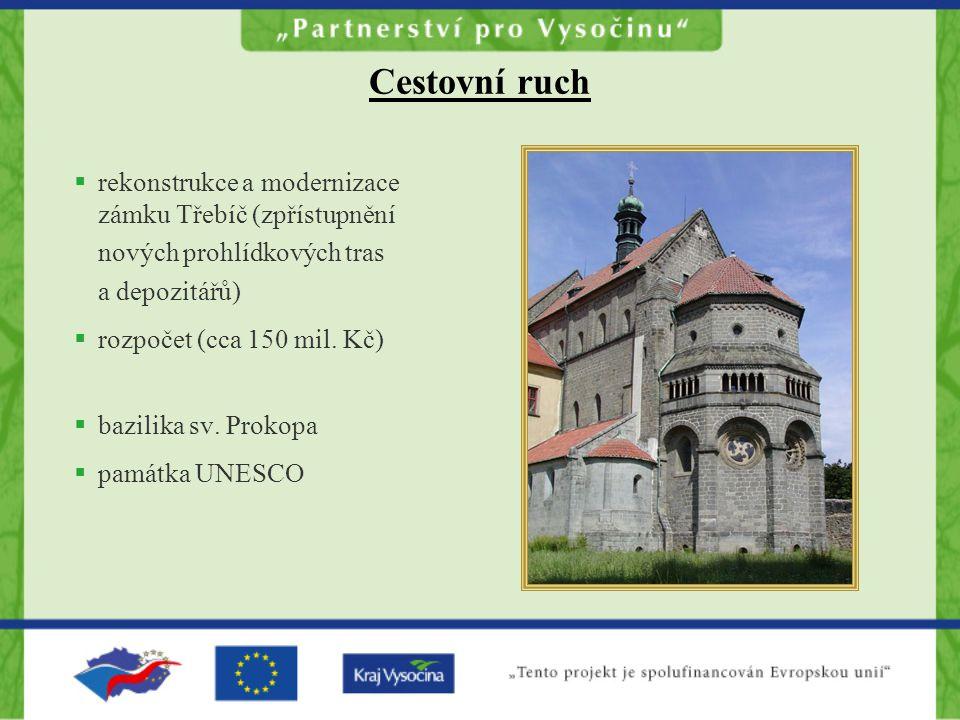 Cestovní ruch  rekonstrukce a modernizace zámku Třebíč (zpřístupnění nových prohlídkových tras a depozitářů)  rozpočet (cca 150 mil.