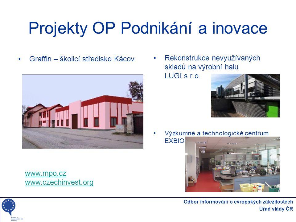 Odbor informování o evropských záležitostech Úřad vlády ČR Projekty OP Podnikání a inovace Rekonstrukce nevyužívaných skladů na výrobní halu LUGI s.r.