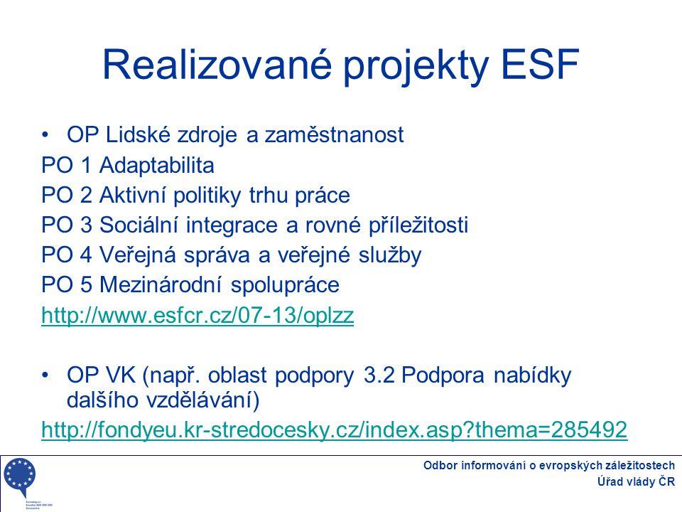 Odbor informování o evropských záležitostech Úřad vlády ČR Realizované projekty ESF OP Lidské zdroje a zaměstnanost PO 1 Adaptabilita PO 2 Aktivní pol