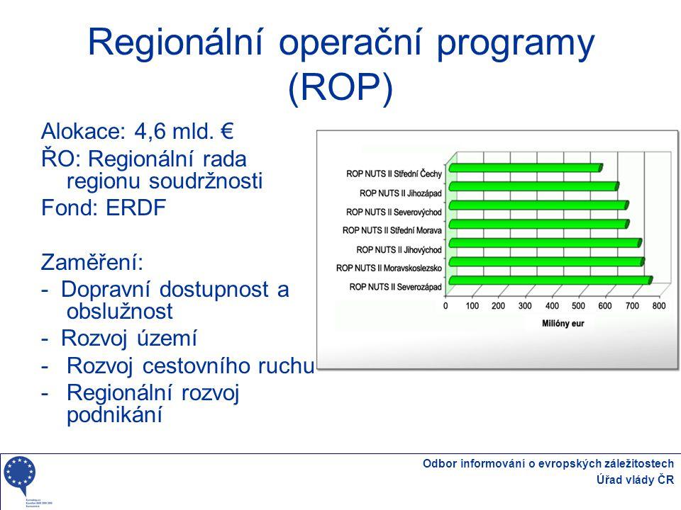 Odbor informování o evropských záležitostech Úřad vlády ČR Regionální operační programy (ROP) Alokace: 4,6 mld. € ŘO: Regionální rada regionu soudržno