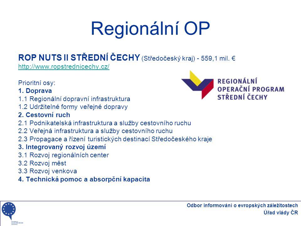 Odbor informování o evropských záležitostech Úřad vlády ČR Regionální OP ROP NUTS II STŘEDNÍ ČECHY (Středočeský kraj) - 559,1 mil. € http://www.ropstr