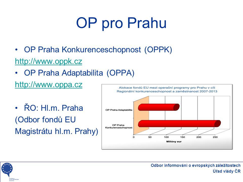 Odbor informování o evropských záležitostech Úřad vlády ČR OP pro Prahu OP Praha Konkurenceschopnost (OPPK) http://www.oppk.cz OP Praha Adaptabilita (