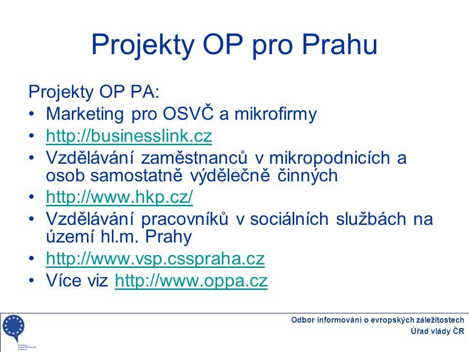 Odbor informování o evropských záležitostech Úřad vlády ČR Projekty OP pro Prahu Projekty OP PA: Marketing pro OSVČ a mikrofirmy http://businesslink.c