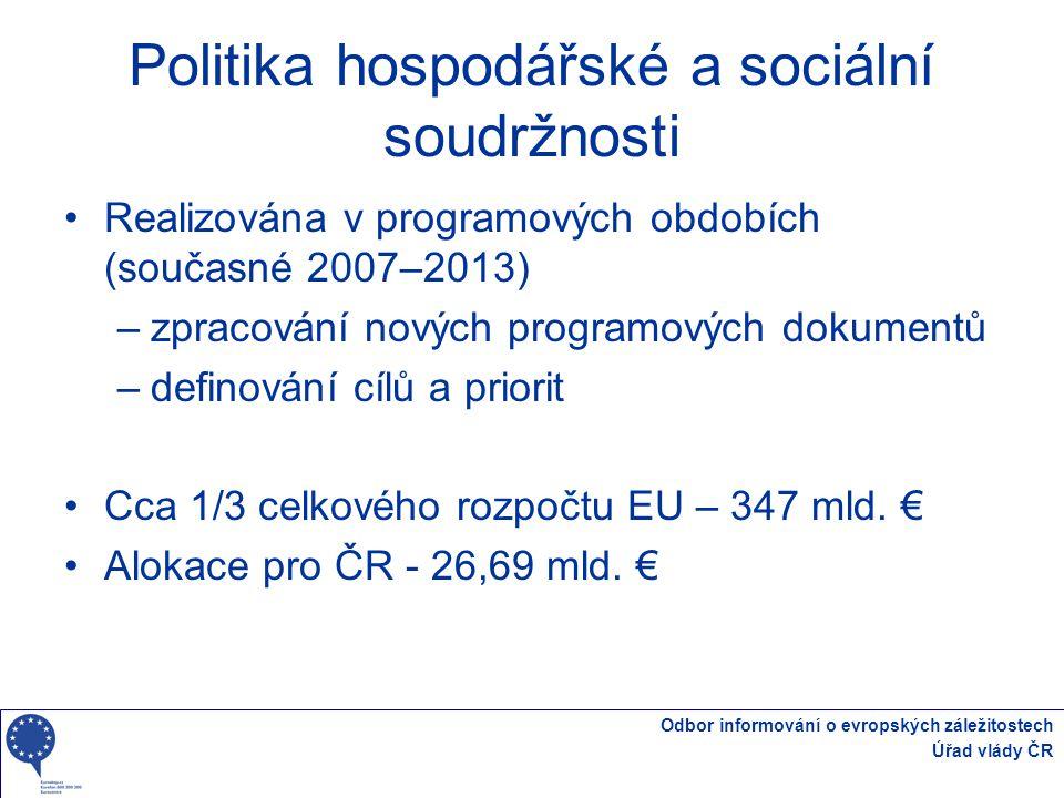 Odbor informování o evropských záležitostech Úřad vlády ČR Politika HSS 2007 - 2013 Cíle 2007 – 2013 Konvergence (81,5%) Způsobilé regiony –Regiony NUTS 2 s HDP V PPS nižší než 75% průměru EU27 –Státy s HND na obyvatele nižším než 90% průměru EU27 Regionální konkurenceschopnost a zaměstnanost (16%) Evropská územní spolupráce (2,5%) ČR – 97% Konvergence