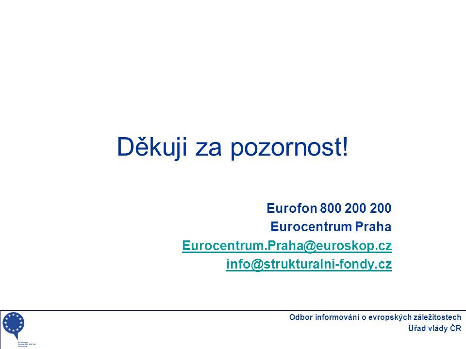 Odbor informování o evropských záležitostech Úřad vlády ČR Děkuji za pozornost! Eurofon 800 200 200 Eurocentrum Praha Eurocentrum.Praha@euroskop.cz in