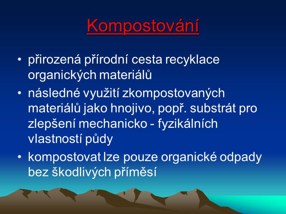 Kompostování přirozená přírodní cesta recyklace organických materiálů následné využití zkompostovaných materiálů jako hnojivo, popř. substrát pro zlep