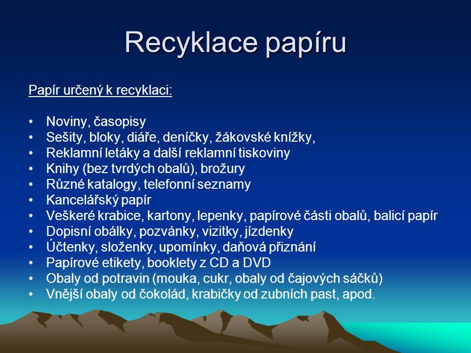 Recyklace papíru Papír určený k recyklaci: Noviny, časopisy Sešity, bloky, diáře, deníčky, žákovské knížky, Reklamní letáky a další reklamní tiskoviny