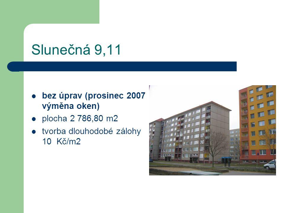 Slunečná 9,11 bez úprav (prosinec 2007 výměna oken) plocha 2 786,80 m2 tvorba dlouhodobé zálohy 10 Kč/m2