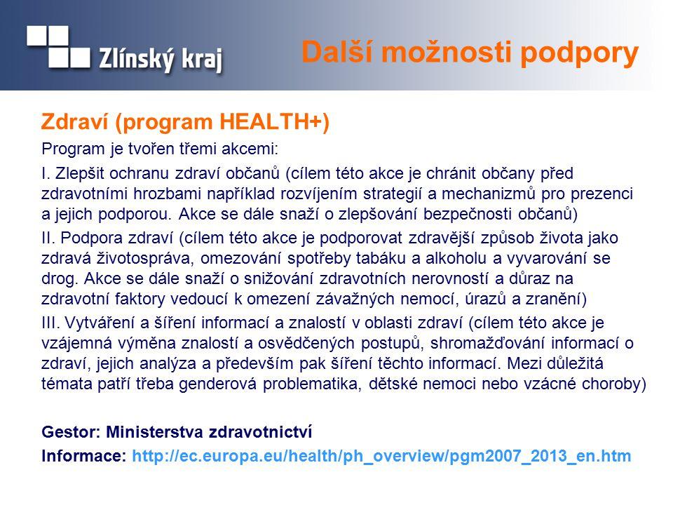 Zdraví (program HEALTH+) Program je tvořen třemi akcemi: I.