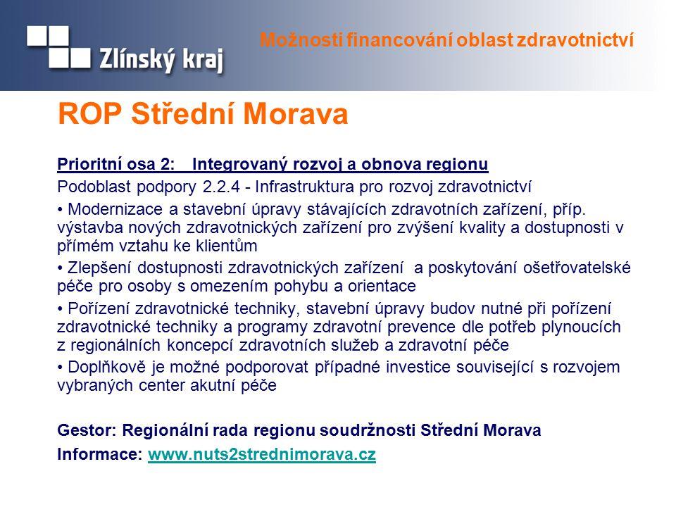 ROP Střední Morava Prioritní osa 2: Integrovaný rozvoj a obnova regionu Podoblast podpory 2.2.4 - Infrastruktura pro rozvoj zdravotnictví Modernizace a stavební úpravy stávajících zdravotních zařízení, příp.