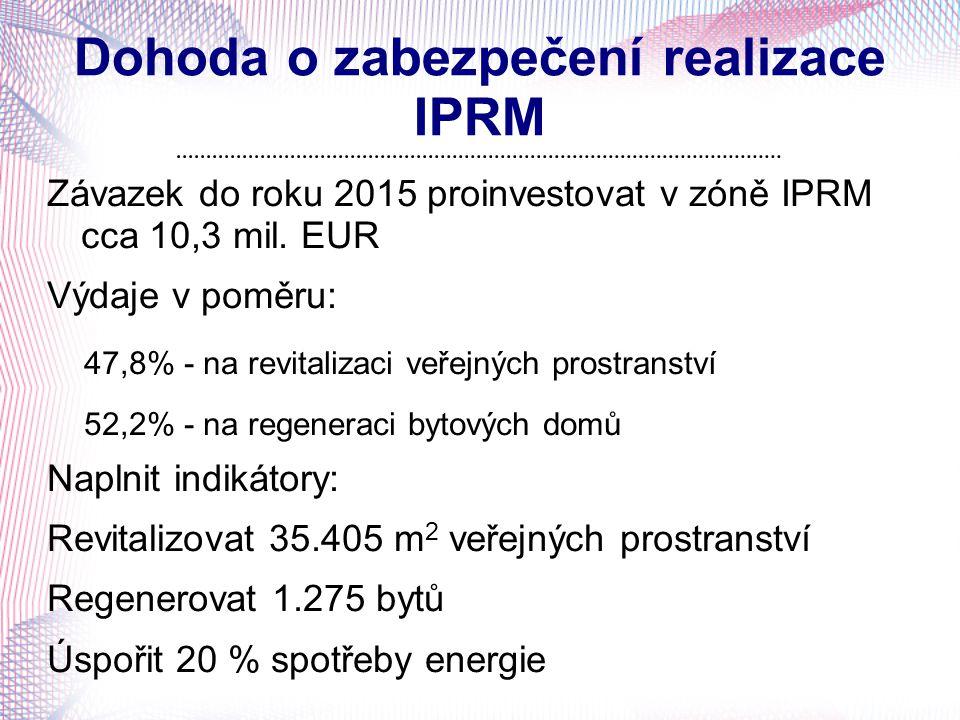 Dohoda o zabezpečení realizace IPRM Závazek do roku 2015 proinvestovat v zóně IPRM cca 10,3 mil. EUR Výdaje v poměru: 47,8% - na revitalizaci veřejnýc