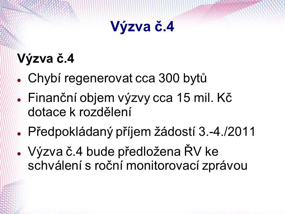 Výzva č.4 Chybí regenerovat cca 300 bytů Finanční objem výzvy cca 15 mil. Kč dotace k rozdělení Předpokládaný příjem žádostí 3.-4./2011 Výzva č.4 bude