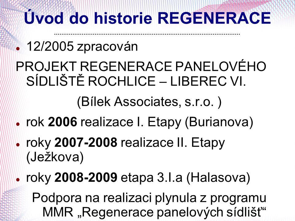 Úvod do historie REGENERACE 12/2005 zpracován PROJEKT REGENERACE PANELOVÉHO SÍDLIŠTĚ ROCHLICE – LIBEREC VI. (Bílek Associates, s.r.o. ) rok 2006 reali