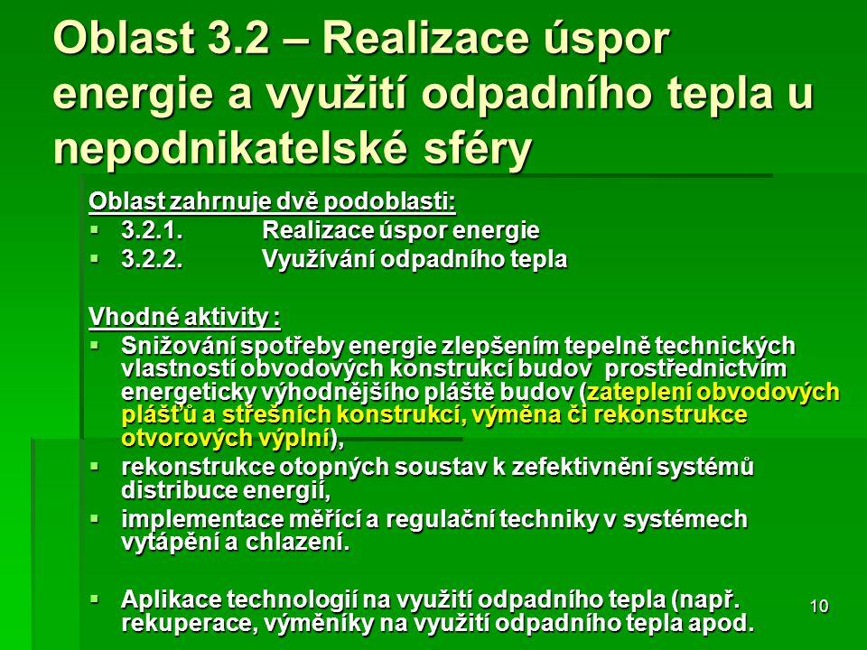 10 Oblast 3.2 – Realizace úspor energie a využití odpadního tepla u nepodnikatelské sféry Oblast zahrnuje dvě podoblasti:  3.2.1.Realizace úspor energie  3.2.2.Využívání odpadního tepla Vhodné aktivity :  Snižování spotřeby energie zlepšením tepelně technických vlastností obvodových konstrukcí budov prostřednictvím energeticky výhodnějšího pláště budov (zateplení obvodových plášťů a střešních konstrukcí, výměna či rekonstrukce otvorových výplní),  rekonstrukce otopných soustav k zefektivnění systémů distribuce energií,  implementace měřící a regulační techniky v systémech vytápění a chlazení.