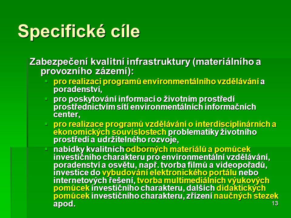 13 Specifické cíle Zabezpečení kvalitní infrastruktury (materiálního a provozního zázemí):  pro realizaci programů environmentálního vzdělávání a poradenství,  pro poskytování informací o životním prostředí prostřednictvím sítí environmentálních informačních center,  pro realizace programů vzdělávání o interdisciplinárních a ekonomických souvislostech problematiky životního prostředí a udržitelného rozvoje,  nabídky kvalitních odborných materiálů a pomůcek investičního charakteru pro environmentální vzdělávání, poradenství a osvětu, např.