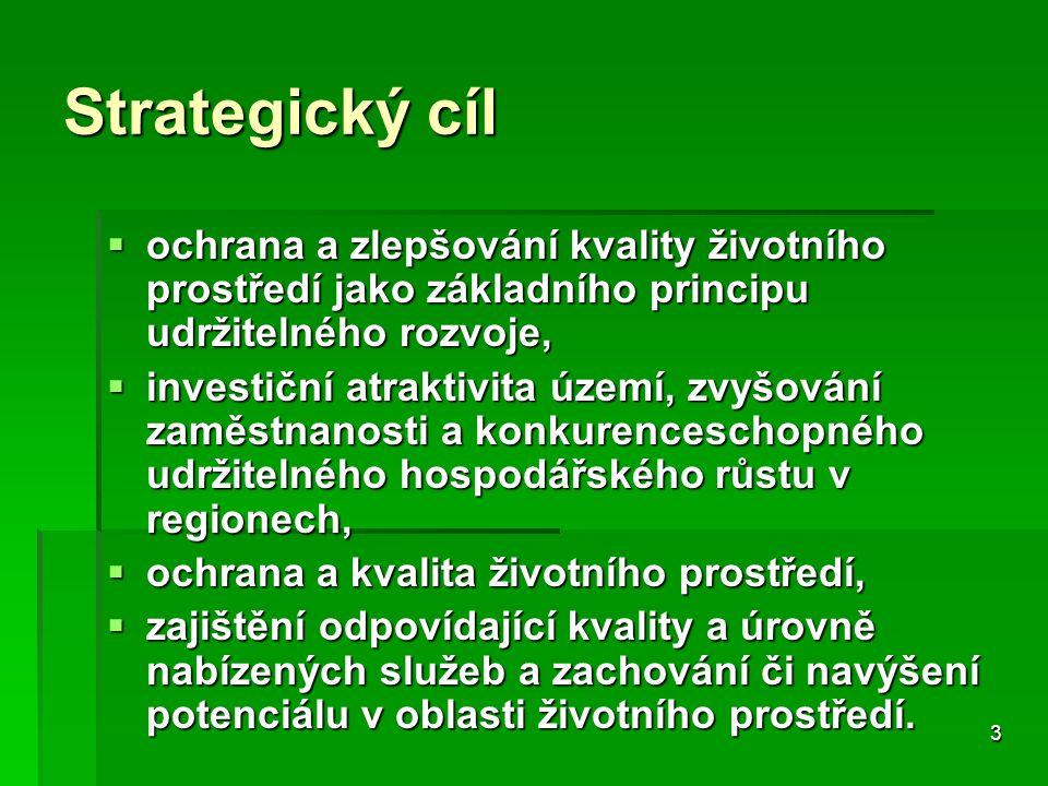 3 Strategický cíl  ochrana a zlepšování kvality životního prostředí jako základního principu udržitelného rozvoje,  investiční atraktivita území, zvyšování zaměstnanosti a konkurenceschopného udržitelného hospodářského růstu v regionech,  ochrana a kvalita životního prostředí,  zajištění odpovídající kvality a úrovně nabízených služeb a zachování či navýšení potenciálu v oblasti životního prostředí.