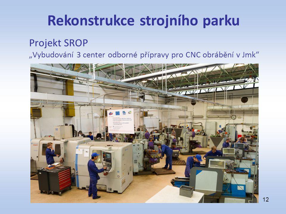 """Projekt SROP """"Vybudování 3 center odborné přípravy pro CNC obrábění v Jmk"""" 12 Rekonstrukce strojního parku"""