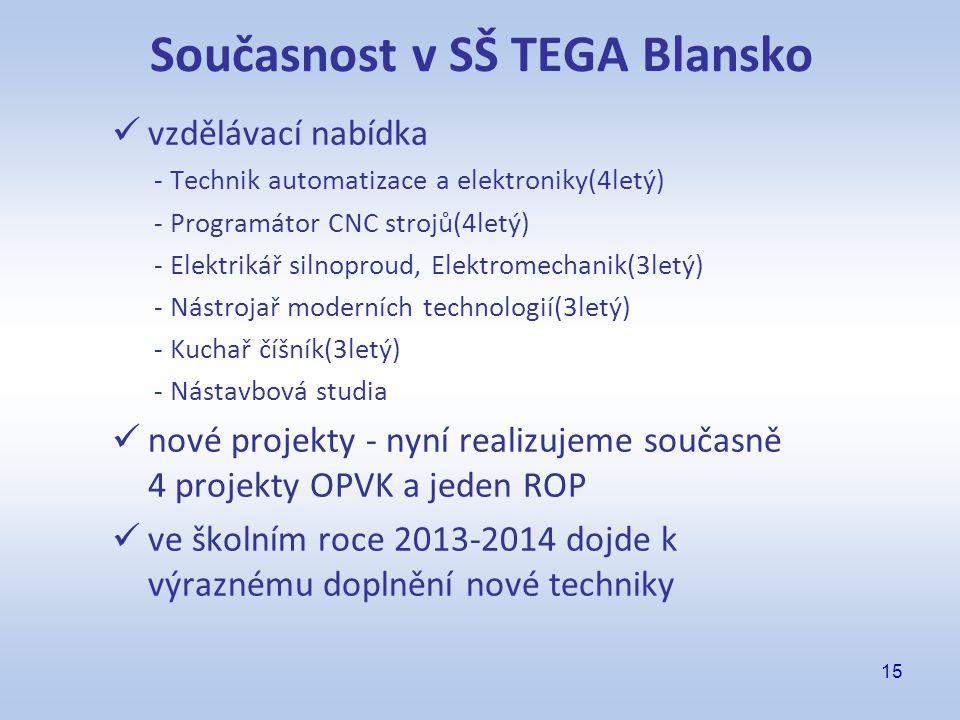 15 Současnost v SŠ TEGA Blansko vzdělávací nabídka - Technik automatizace a elektroniky(4letý) - Programátor CNC strojů(4letý) - Elektrikář silnoproud