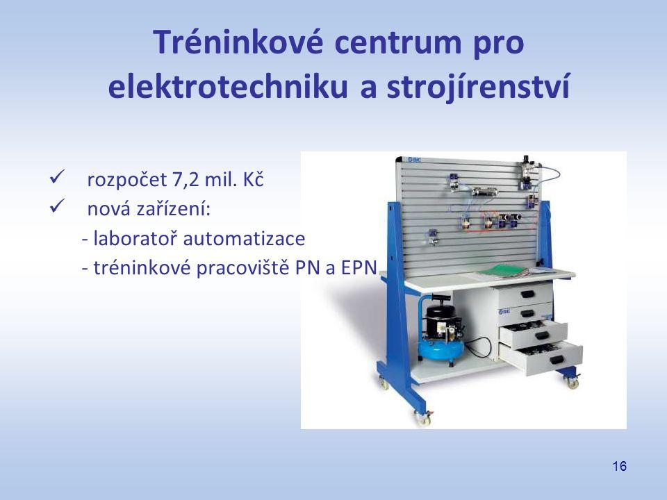 16 Tréninkové centrum pro elektrotechniku a strojírenství rozpočet 7,2 mil. Kč nová zařízení: - laboratoř automatizace - tréninkové pracoviště PN a EP