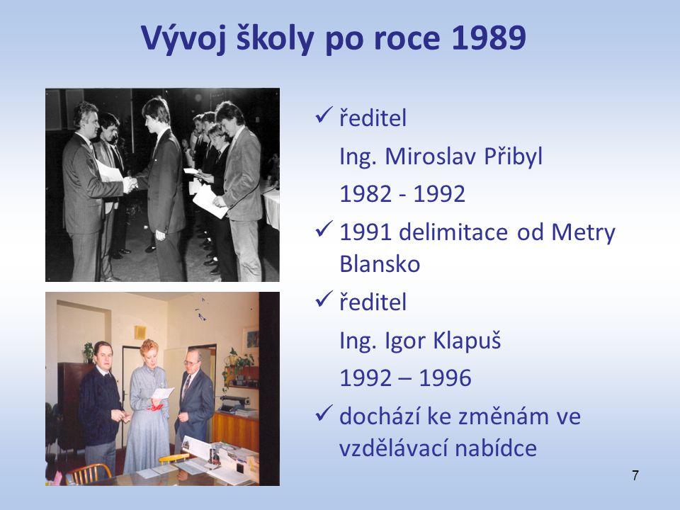 ředitel Ing. Miroslav Přibyl 1982 - 1992 1991 delimitace od Metry Blansko ředitel Ing. Igor Klapuš 1992 – 1996 dochází ke změnám ve vzdělávací nabídce