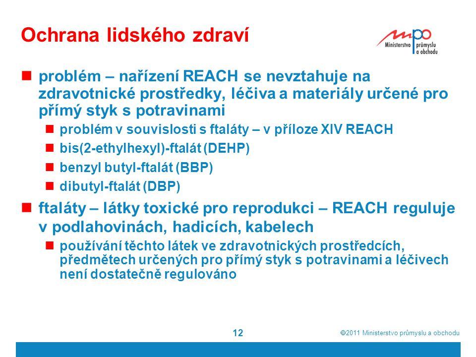  2011  Ministerstvo průmyslu a obchodu 12 Ochrana lidského zdraví problém – nařízení REACH se nevztahuje na zdravotnické prostředky, léčiva a materiály určené pro přímý styk s potravinami problém v souvislosti s ftaláty – v příloze XIV REACH bis(2-ethylhexyl)-ftalát (DEHP) benzyl butyl-ftalát (BBP) dibutyl-ftalát (DBP) ftaláty – látky toxické pro reprodukci – REACH reguluje v podlahovinách, hadicích, kabelech používání těchto látek ve zdravotnických prostředcích, předmětech určených pro přímý styk s potravinami a léčivech není dostatečně regulováno