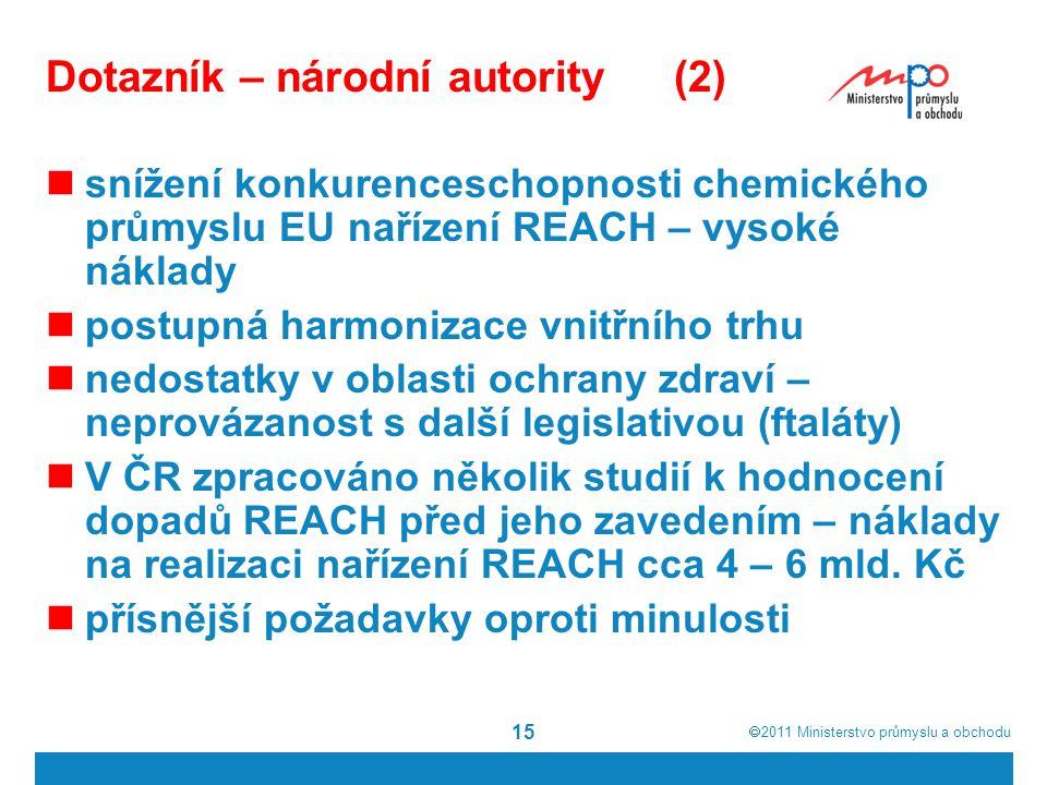  2011  Ministerstvo průmyslu a obchodu 15 snížení konkurenceschopnosti chemického průmyslu EU nařízení REACH – vysoké náklady postupná harmonizace vnitřního trhu nedostatky v oblasti ochrany zdraví – neprovázanost s další legislativou (ftaláty) V ČR zpracováno několik studií k hodnocení dopadů REACH před jeho zavedením – náklady na realizaci nařízení REACH cca 4 – 6 mld.