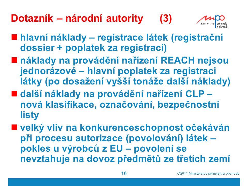  2011  Ministerstvo průmyslu a obchodu 16 Dotazník – národní autority(3) hlavní náklady – registrace látek (registrační dossier + poplatek za registraci) náklady na provádění nařízení REACH nejsou jednorázové – hlavní poplatek za registraci látky (po dosažení vyšší tonáže další náklady) další náklady na provádění nařízení CLP – nová klasifikace, označování, bezpečnostní listy velký vliv na konkurenceschopnost očekáván při procesu autorizace (povolování) látek – pokles u výrobců z EU – povolení se nevztahuje na dovoz předmětů ze třetích zemí