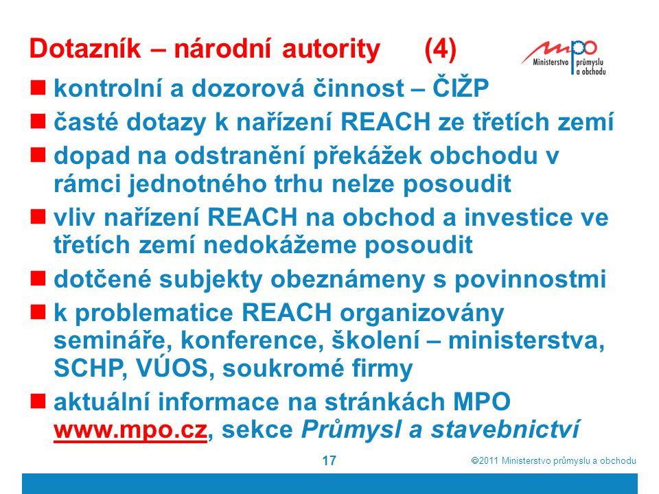  2011  Ministerstvo průmyslu a obchodu 17 Dotazník – národní autority(4) kontrolní a dozorová činnost – ČIŽP časté dotazy k nařízení REACH ze třetích zemí dopad na odstranění překážek obchodu v rámci jednotného trhu nelze posoudit vliv nařízení REACH na obchod a investice ve třetích zemí nedokážeme posoudit dotčené subjekty obeznámeny s povinnostmi k problematice REACH organizovány semináře, konference, školení – ministerstva, SCHP, VÚOS, soukromé firmy aktuální informace na stránkách MPO www.mpo.cz, sekce Průmysl a stavebnictví www.mpo.cz